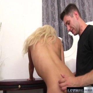 Tiny blonde slut Elizabeth drops out and drops to her knees for cock