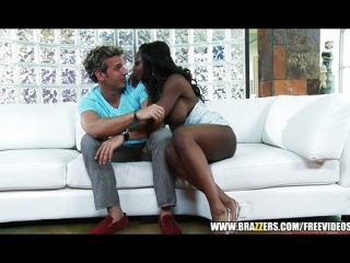 Busty ebony babe Diamond Jackson loves cock